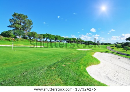 A luxury golf course for summer vacations. - stock photo