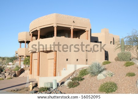 A luxury upscale home in an Arizona desert suburb - stock photo