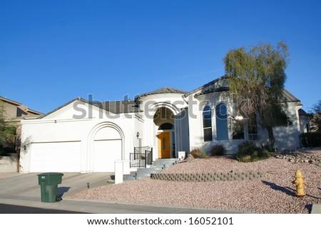 A luxury upscale home in an Arizona suburb - stock photo