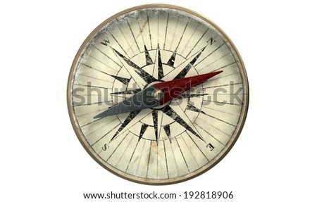 A macro closeup of a vintage compass made of copper with a scratched glass on an isolated white background - stock photo