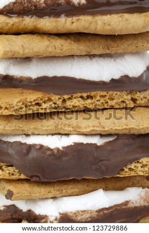 A macro image of smore compose of marshmallow, chocolate, crackers - stock photo