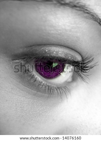 A macro shot of a pretty woman's eye with selective color. - stock photo