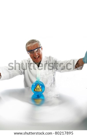 "a Mad Scientist releases dreaded Carbon Dioxide aka ""CO2"" into the air in an effort cause ""Global Warming""  isolated on white with room for your text. . - stock photo"
