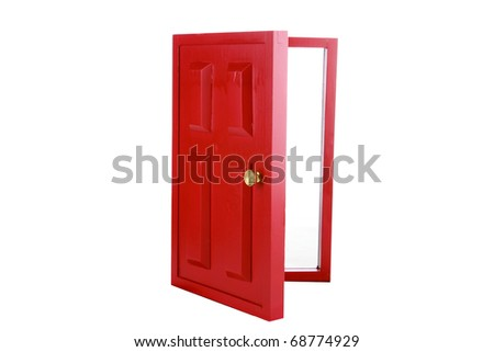 a magic red door isolated on white with room for your text - stock photo