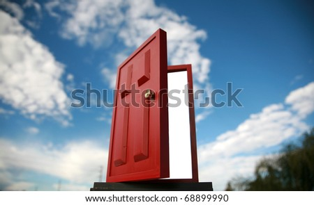 a magic red door  leading to the outside world or perhaps a portal to the 5th dimention - stock photo