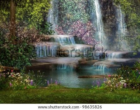 a magical landscape with waterfalls, flowers and trees - stock photo