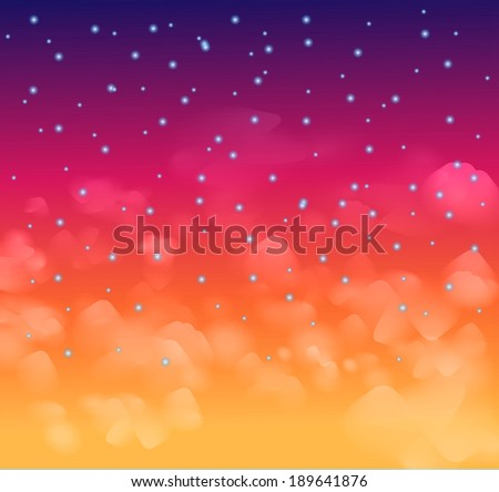 A magical Nigh sky with stars and delicate clouds. Idea for Christmas background and festive posters. - stock photo
