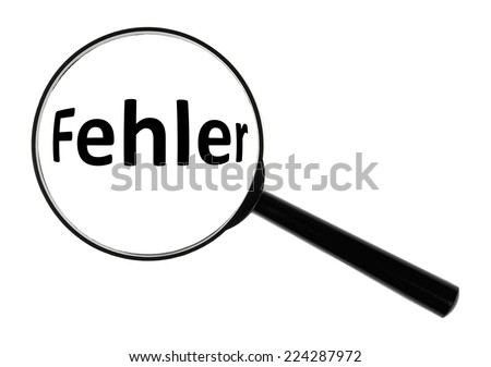 A magnifying glass against white background increases the word error.