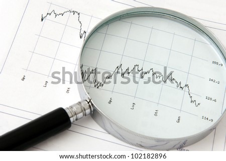 A magnifying glass focusing on a financial graph - stock photo