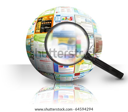 A magnifying Glass is searching the internet and there are different website templates in a 3D Ball on a white background. Use it for a research or optimization concept. - stock photo