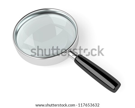 A magnifying glass on white background. Computer generated image with clipping path. - stock photo