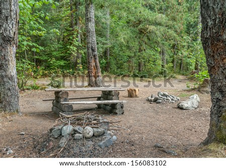 A makeshift campsite in the forest near Squamish, British Columbia, Canada.