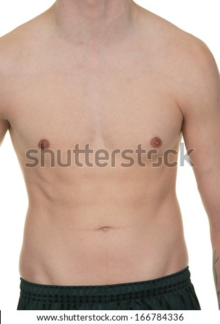A male abdomen with no shirt.