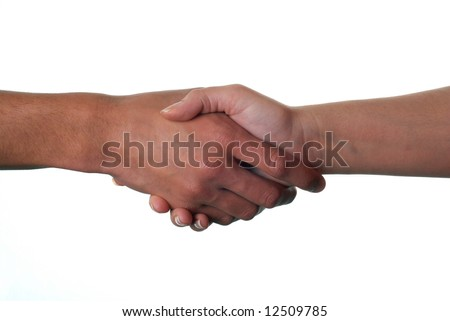 A male and a female hand shaking to complete a business deal