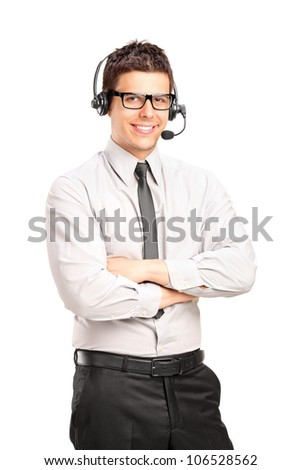A male customer service operator wearing a headset isolated on white background - stock photo