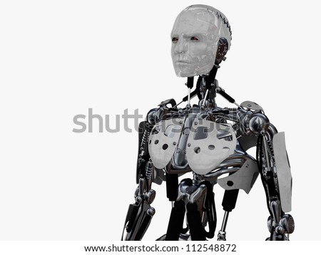A male cyborg gazing into the future. Isolated on white background. - stock photo