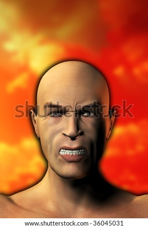 A male face that is looking very angry. - stock photo