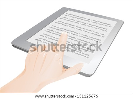 a male hand a touchpad pc showing an E-Book, isolated on white