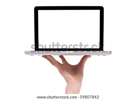 a male hand holding a laptop, isolated on white - stock photo