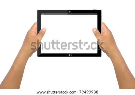 a male hand holding a touchpad pc, isolated on white