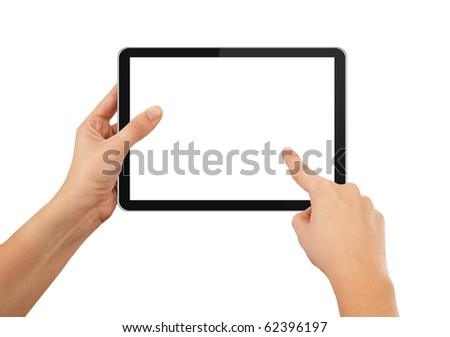 a male hand holding a touchpad pc, one finger touches the screen, isolated on white