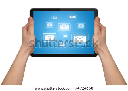 a male hand holding a touchpad pc with e-mail symbols, isolated on white - stock photo