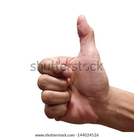 A male hand showing thumbs up sign against white background