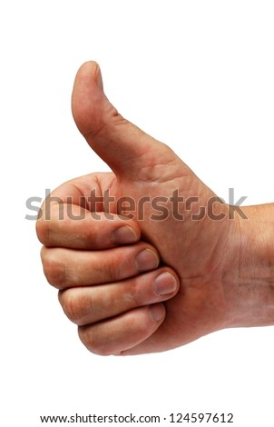 a male hand shows one thumb up as success symbol