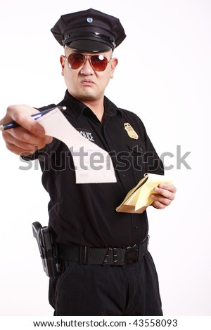 A male police officer handing out a citation. - stock photo