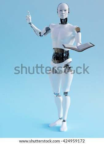 A male robot holding a book in one hand and holding up his other hand like he is having an idea. 3D rendering. Blue background. - stock photo