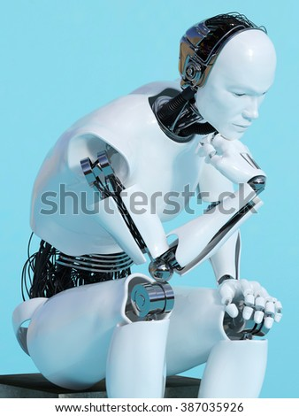 A male robot sitting and thinking, image 2. Blue background. - stock photo