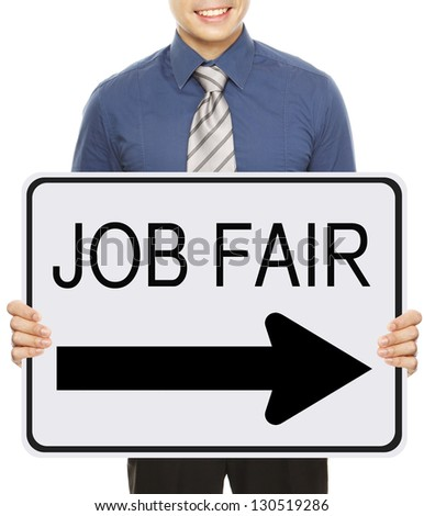 A man advertising a Job Fair signboard or poster - stock photo