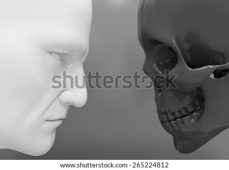 A man and a skeleton confront each other - stock photo