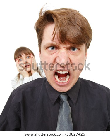 A man angry, he was furious. Woman in horror, isolated on white - stock photo