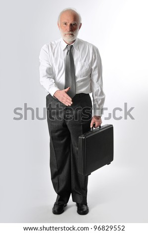 a man as seller gives you his hand - stock photo