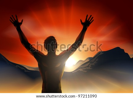 A man at sunrise or sunset with hands raised and sun rising over mountains. - stock photo