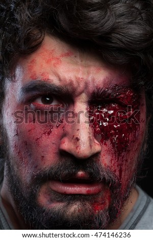 a man bloody eyes portrait whit bloody on his face fx make up realistik
