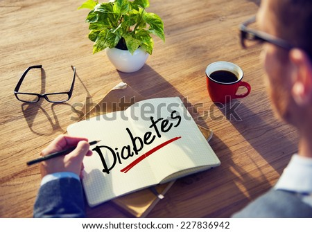 A Man Brainstorming about Diabetes - stock photo