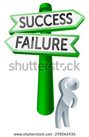 A man considering his options by looking up at a sign reading success or failure - stock photo