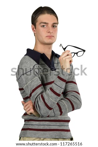 A man contemplates a serious issue - stock photo
