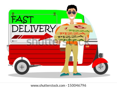 A man delivering pizzas on a white background. - stock photo