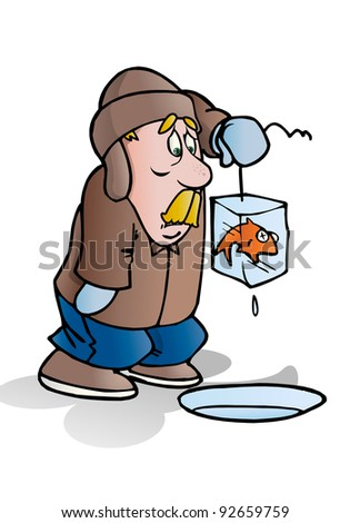 a man fishing on the frozen blue river get frozen fish in nature background illustration - stock photo