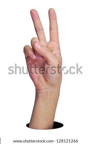 a man hand making the V sign on a white background - stock photo