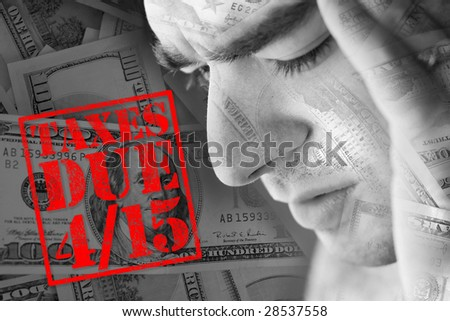 A man has intense stress over how he is going to pay his taxes during a time of economic downturn. - stock photo