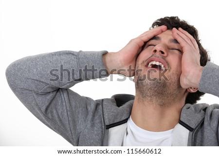 A man having an epiphany. - stock photo