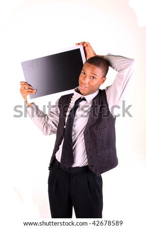 A man holding a blank screen for advertising insert