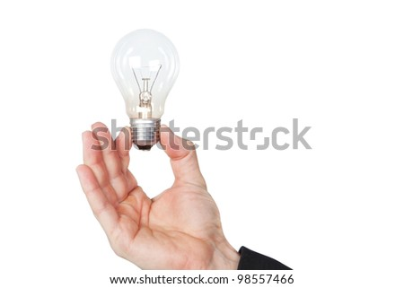 A man holding a lamp in her hand. On a white background.
