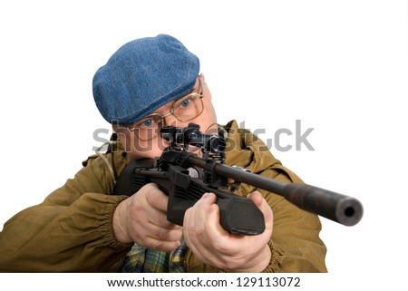 a man holding a rifle, looking into the optical sight. studio white background - stock photo