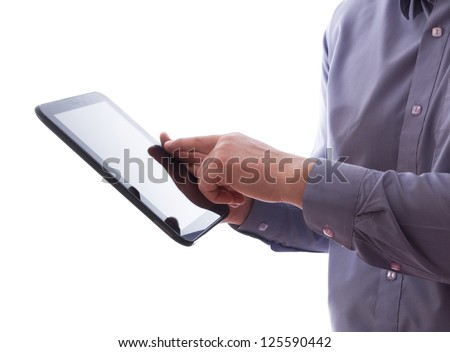 A man holding a tablet pc - stock photo