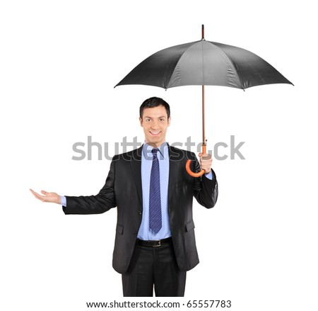 A man holding an umbrella and gesturing isolated on white background